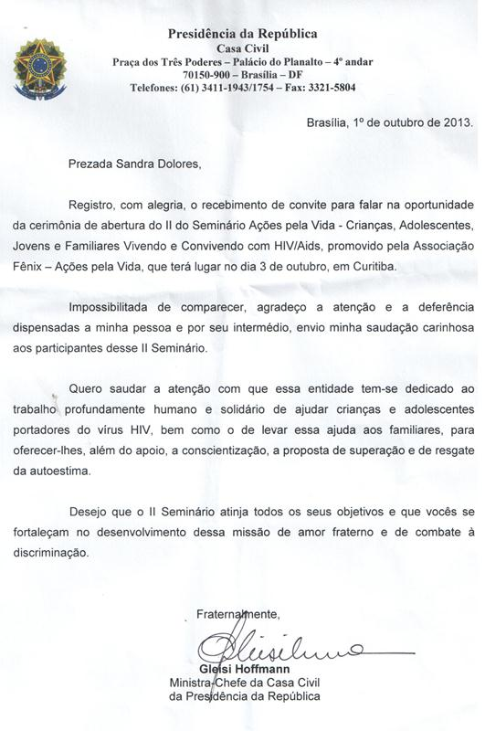 Carta Ministra Gleise Hoffman